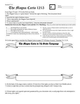 The Magna Carta Worksheet Answer Key   worksheet