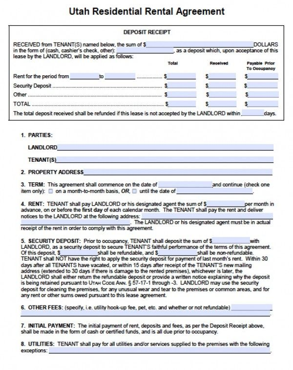 Utah Standard Residential Lease Agreement  Pdf  Word  Rental