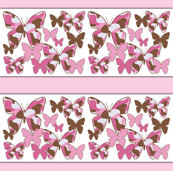 PINK CAMO BUTTERFLY Wallpaper Border Wall Decal Girl Camouflage ...