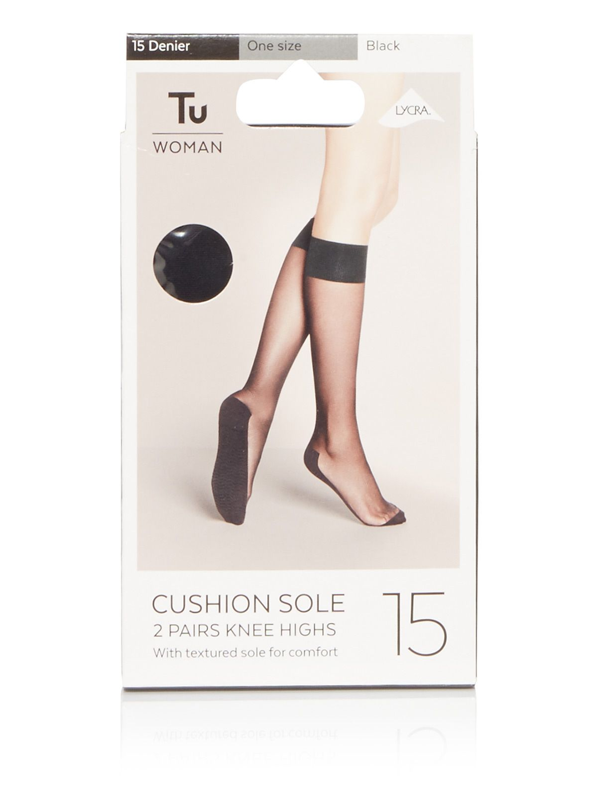 Value Pack 10 Pairs 15 Denier Knee Highs With Comfort Top