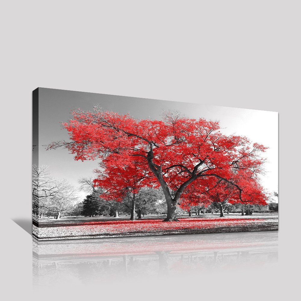 Youkuart wall art painting contemporary red tree in black and white