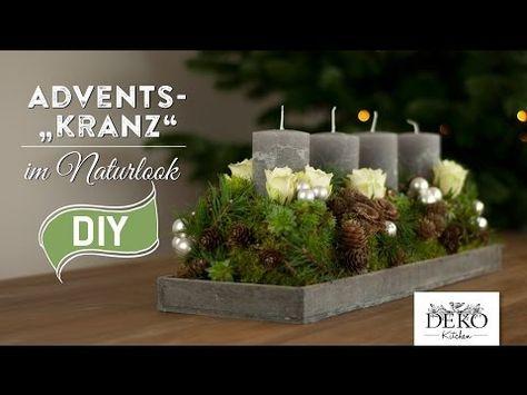 weihnachtsdeko basteln adventskranz im naturlook how to. Black Bedroom Furniture Sets. Home Design Ideas