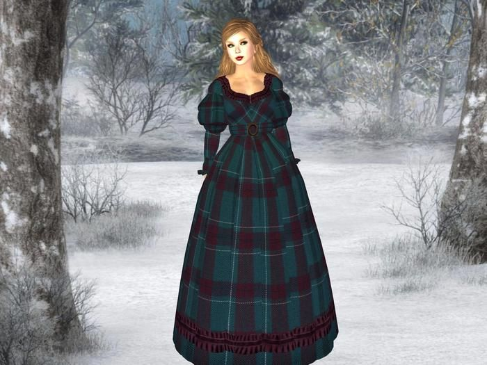 Molly's Teal Plaid Gown - 1830s Version 1