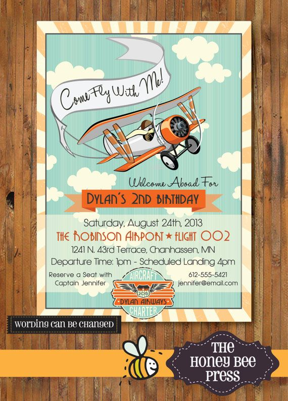 Airplane Birthday Party Invitation Come Fly With Me Party