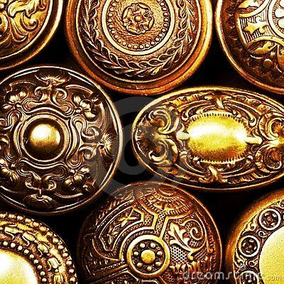 Antique ornate brass doorknobs
