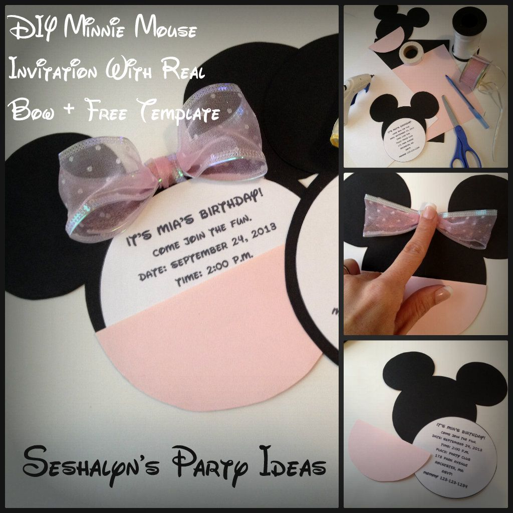 DIY Minnie Mouse Invitation Tutorial Free Template minniemouse