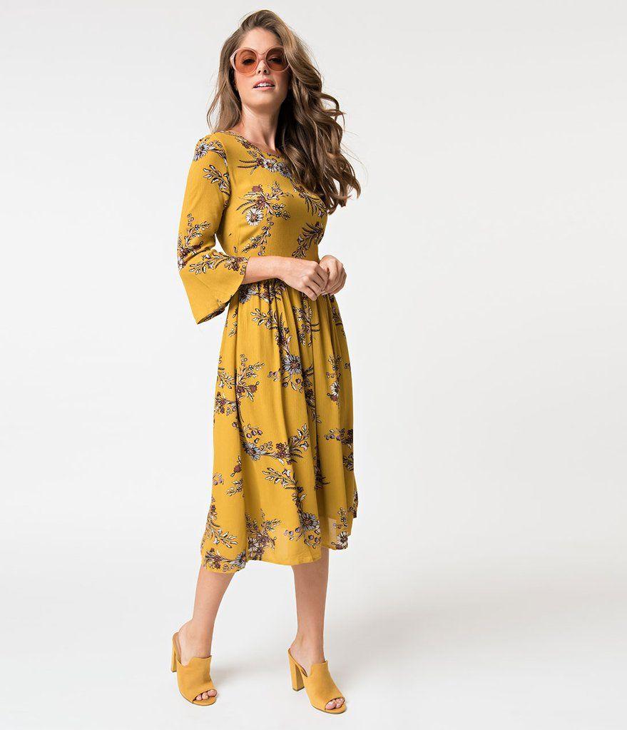 Mustard Yellow Floral Three Quarter Sleeve Flounce Midi Dress Yellow Midi Skirt Yellow Midi Dress Dresses [ 1023 x 879 Pixel ]