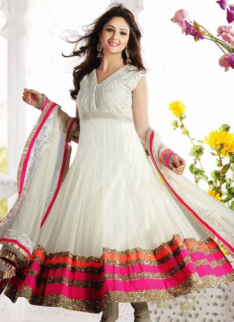 771b468166 Off White Net Long Length Readymade Anarkali Salwar Kameez | Salwar ...