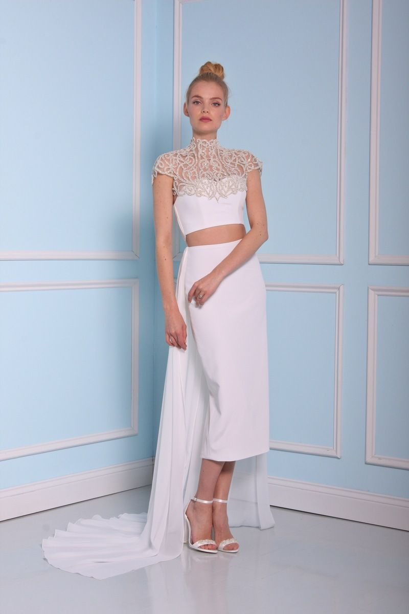 Two pieces wedding dress by Christian Siriano wedding dresses 2016 | fabmood.com