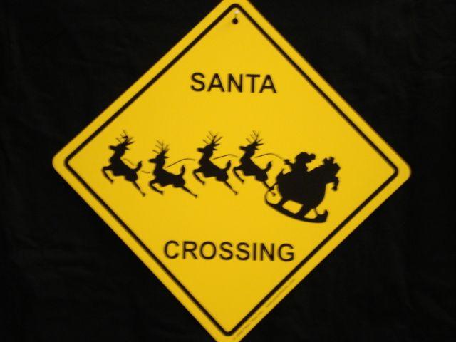 ENLARGE - Santa Claus Crossing Sign - Funny Cute Christmas Sleigh Reindeer Rudolph Gift