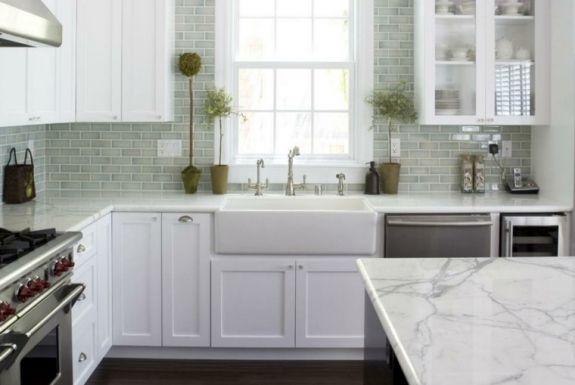 cuisine carrelage mural idée meuble en bois blanc plante pot de - carrelage mur cuisine moderne