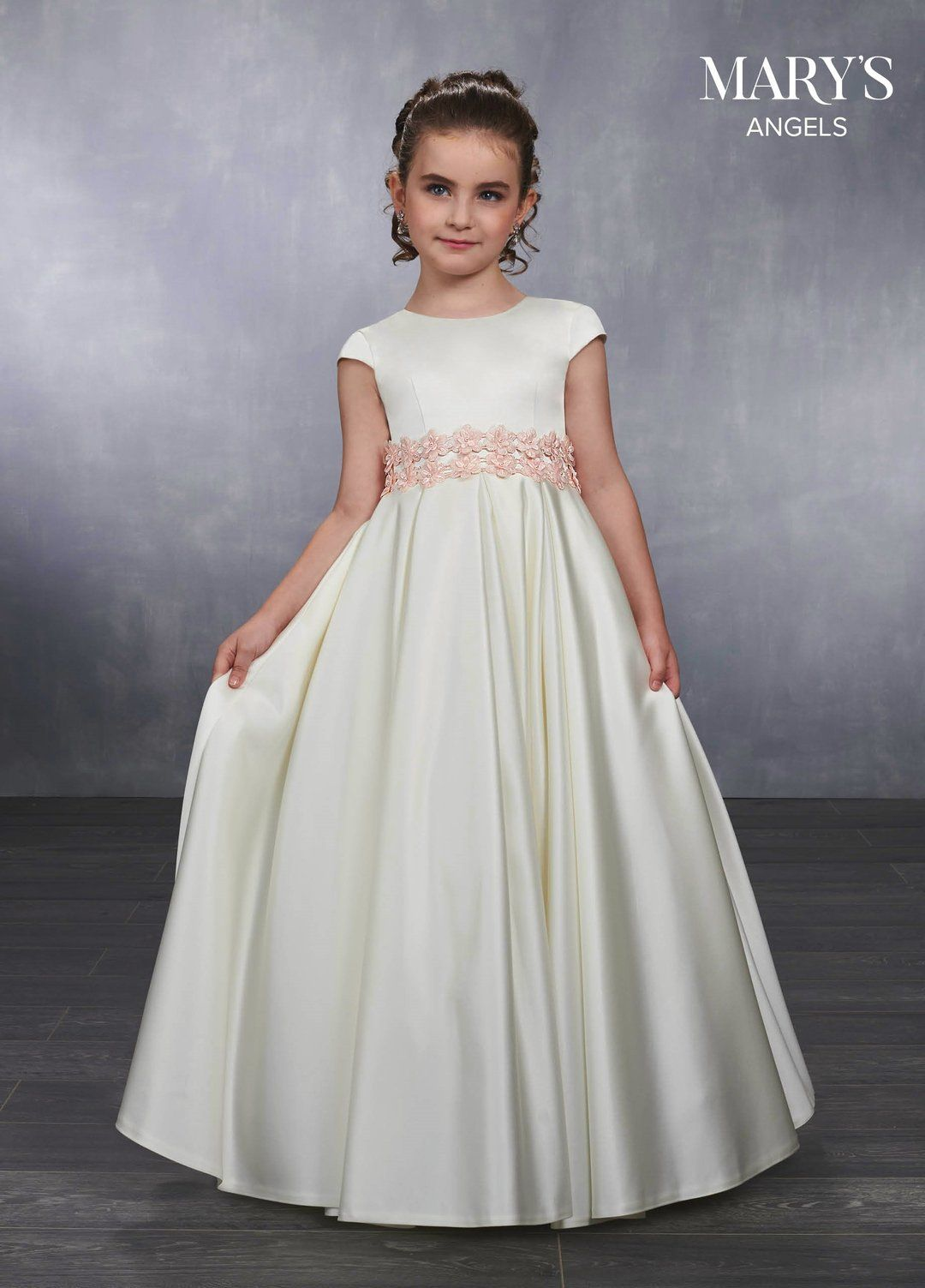 Girls Long Short Sleeve Satin Dress By Mary S Bridal Mb9036 En 2021 Vestidos De Princesa Para Ninas Vestidos De Fiesta Para Ninas Vestidos Para Primera Comunion [ 1503 x 1080 Pixel ]