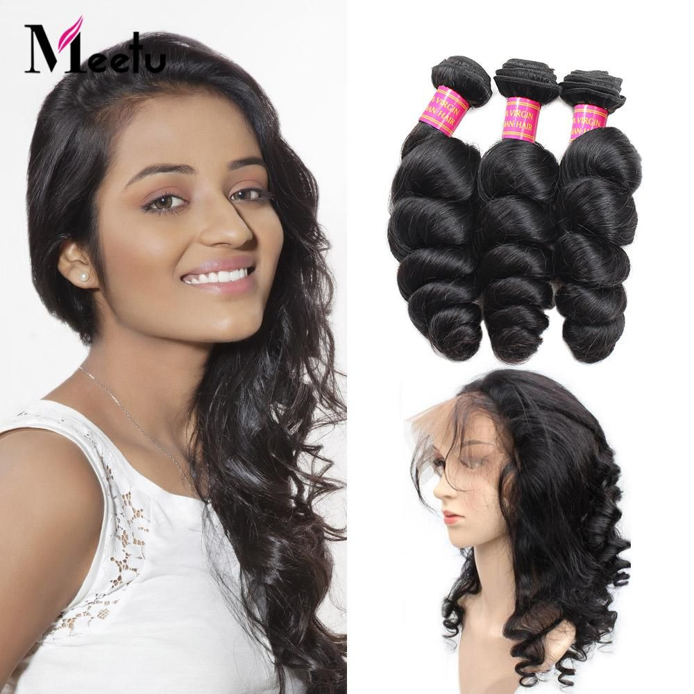 Peruvian Loose Wave Hair 2 Bundles With 360 Lace Frontal Closure