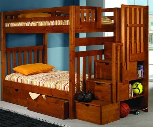 Bunk Bed Twin Over Twin Mission Style In Honey With Stairway And