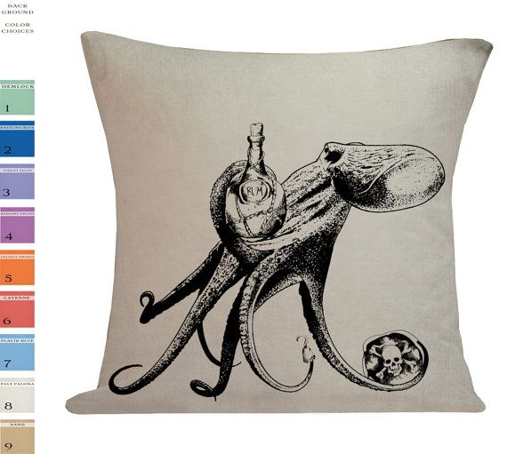 Pirate Octopus Rum Cushion Pillow Cover cotton canvas throw pillow 18 inch square UE-136 on Etsy, $34.00