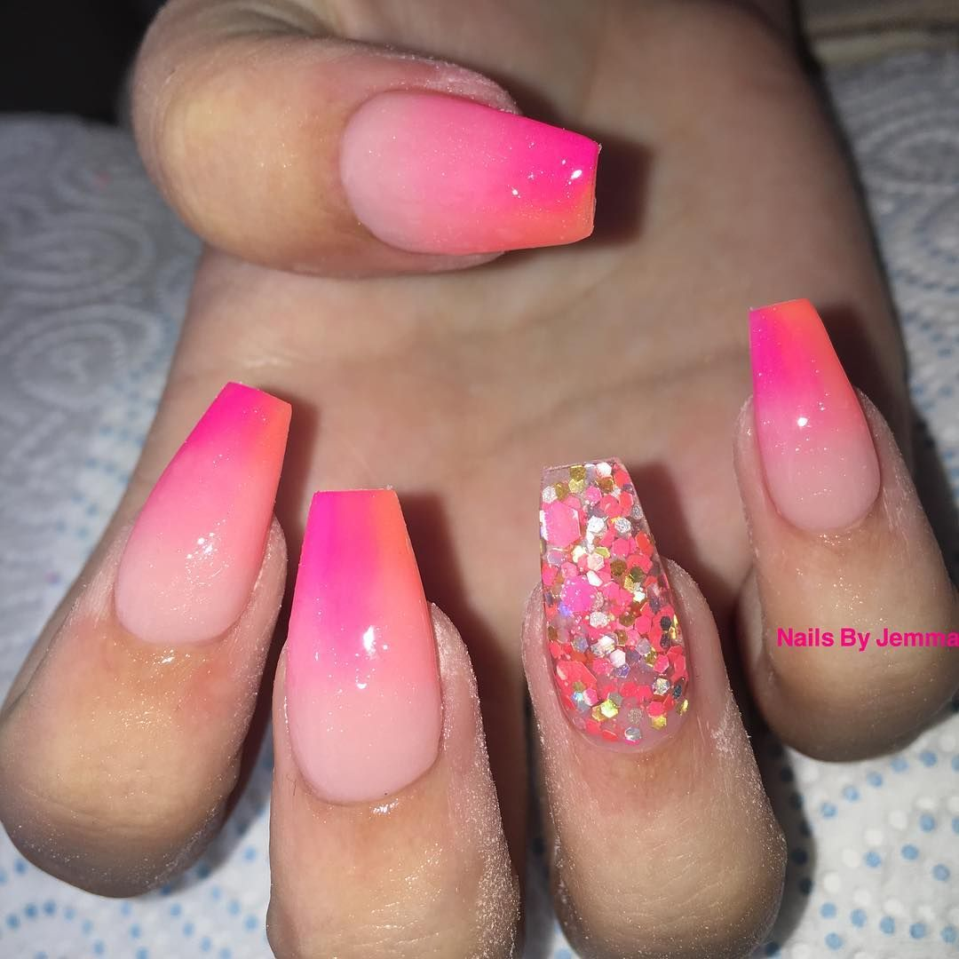 Holiday Nails Pink Orange Ombre Mix Roseblush Glitter