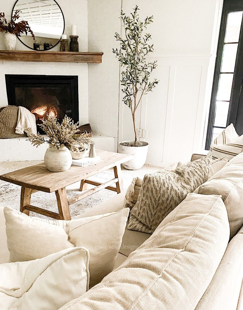 Photo of NEUTRAL MODERN COTTAGE LIVING ROOM WHITE BRICK FIREPLACE AND BOARD & BATTEN
