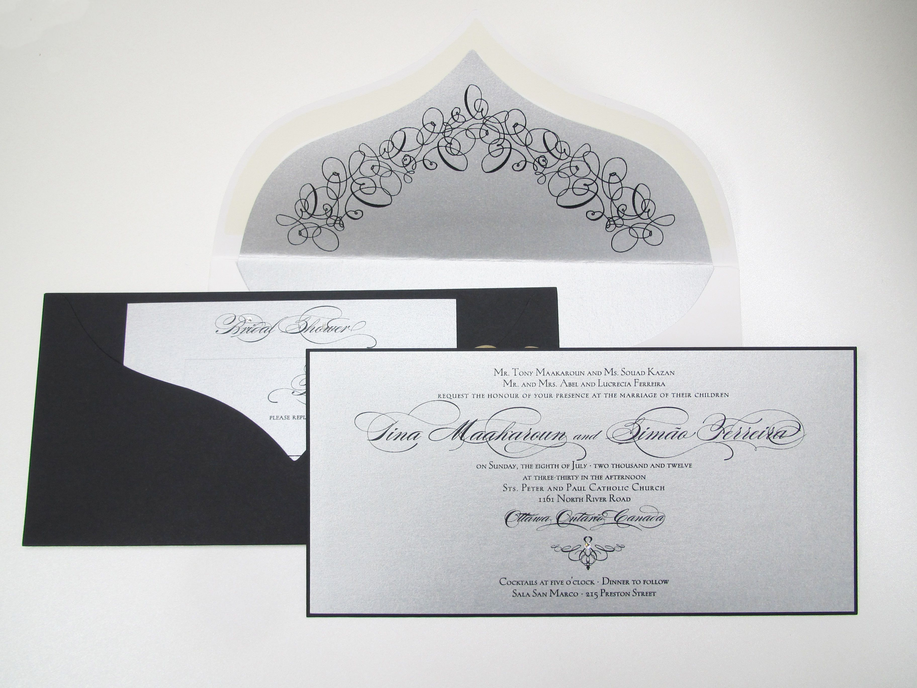 Elegant die cut envelopes give a unique flare to these custom ...