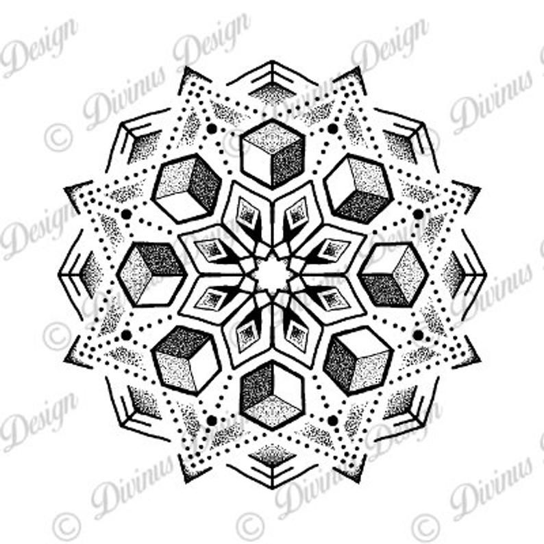 Cubic Geometric dotwork mandala tattoo design and Stencil - Instant Digital Download