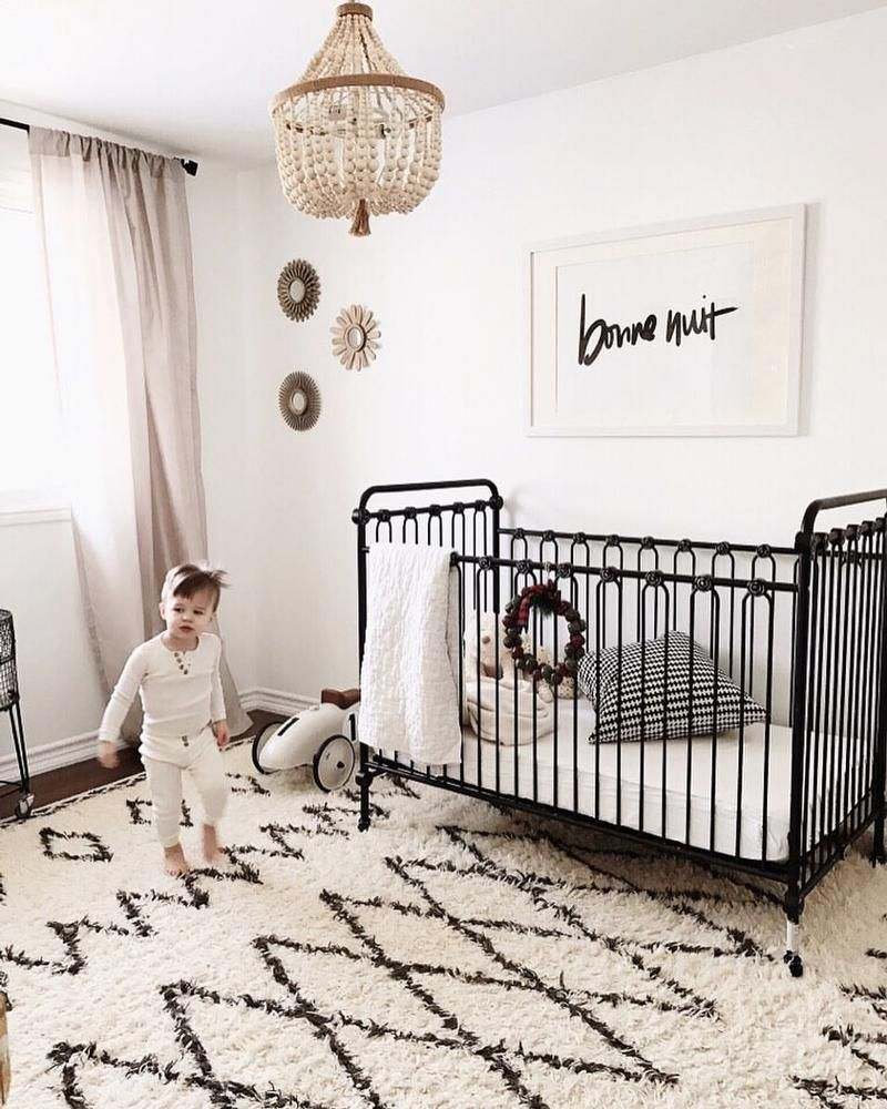 Crib Bedding Baby Boy Rooms: Nursery Goals: Black + White, Iron Baby Crib.