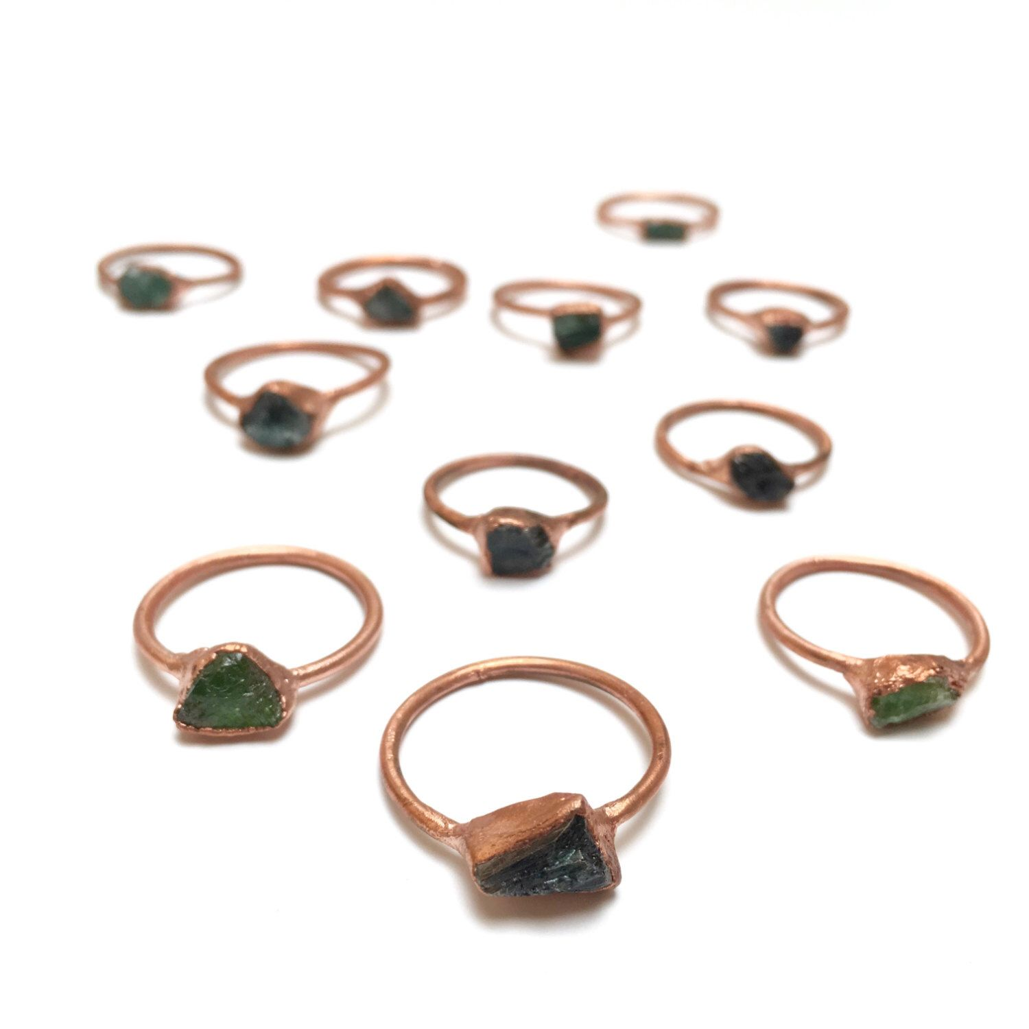 Green Tourmaline and Copper Electroformed Rings October
