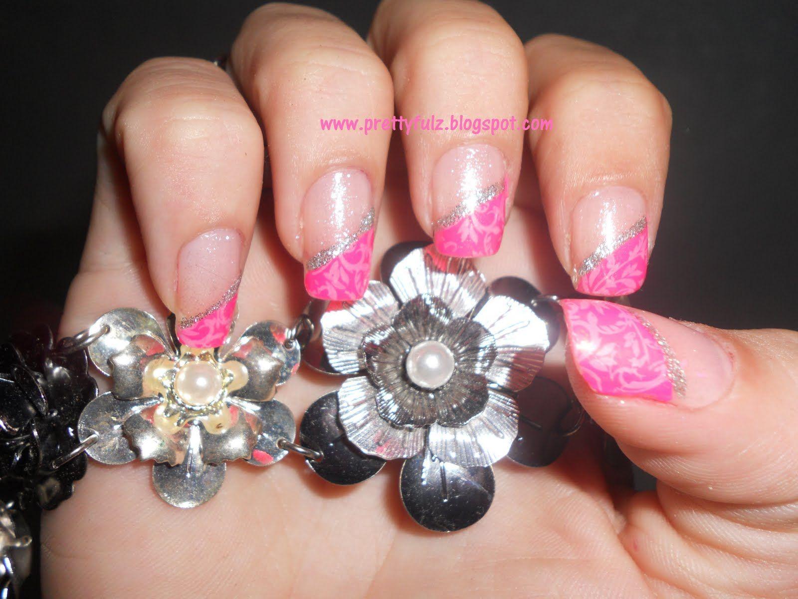 Pink French Tip Nail Designs   KONAD Nail Art   Pink Slanted French ...