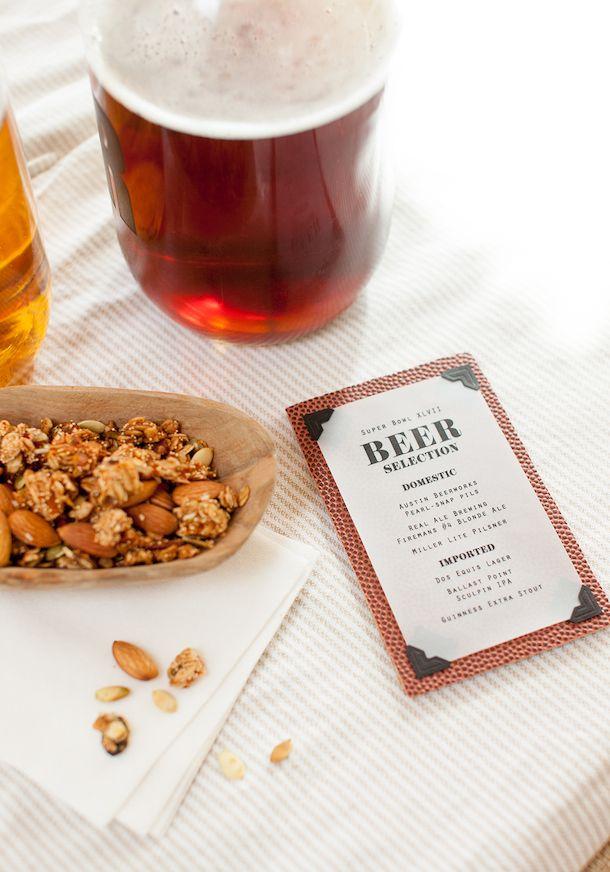 DIY  Pigskin Beer Menu Card Menu, Beer and Super bowl party