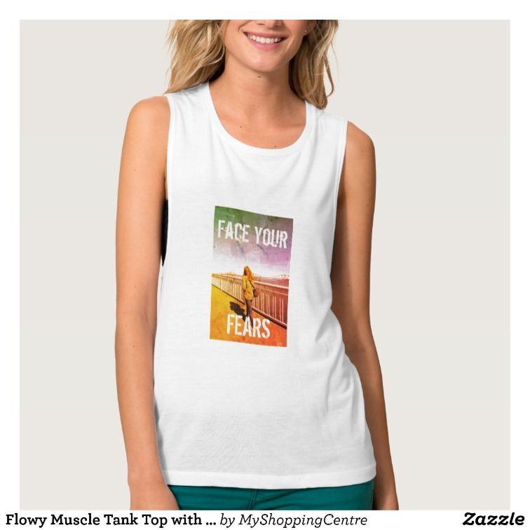 Flowy Muscle Tank Top with photo and text