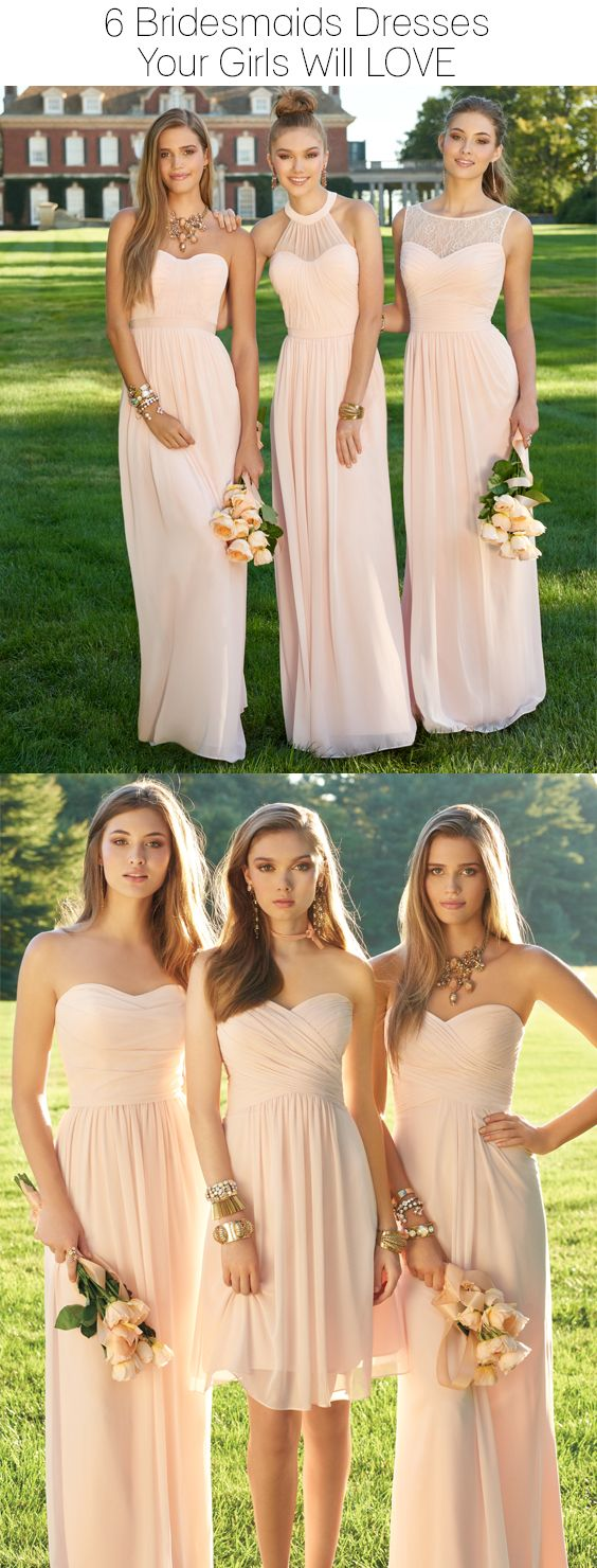 Light pink bridesmaids dresses camillelavie weddings pinterest