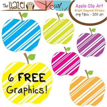 FREE Apple Clip Art!  Bright Diagonal Stripes!!