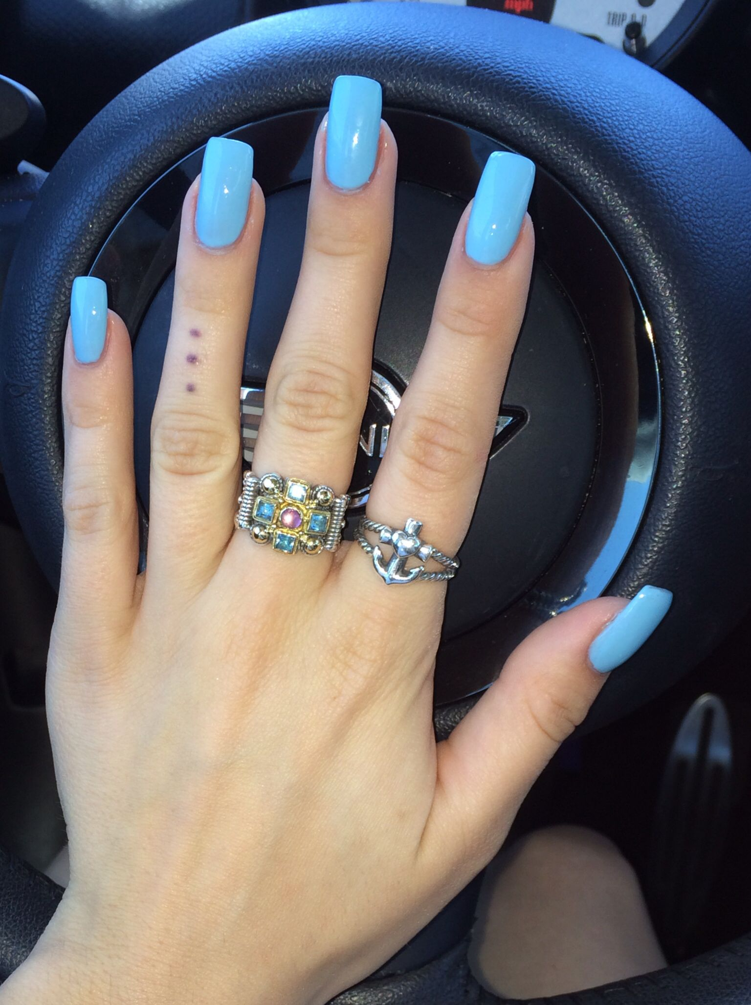 Blue Square Nails. OPI What's with the Cattitude