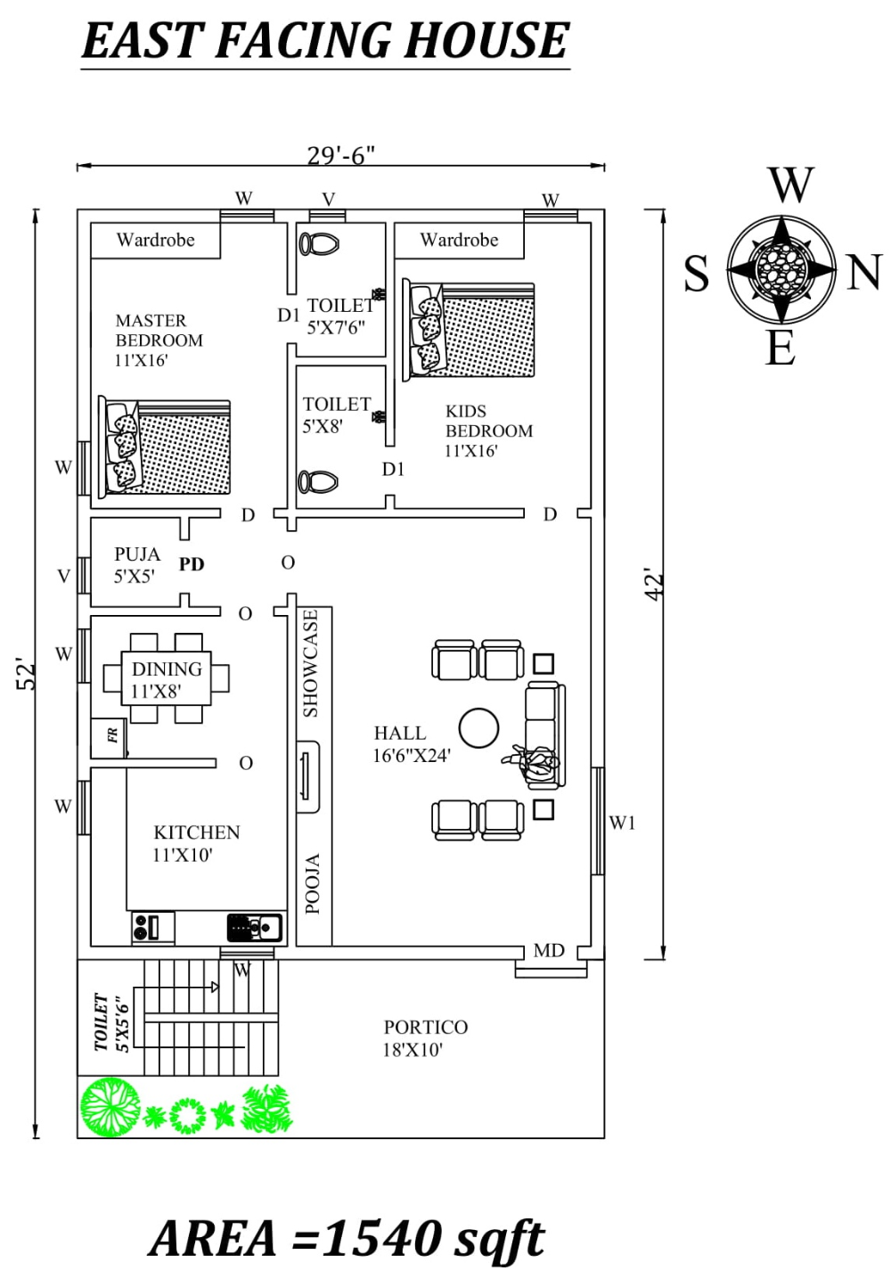 29 6 X52 The Perfect 2bhk East Facing House Plan As Per Vastu Shastra Autocad Dwg And Pdf File 2bhk House Plan House Plans Family House Plans