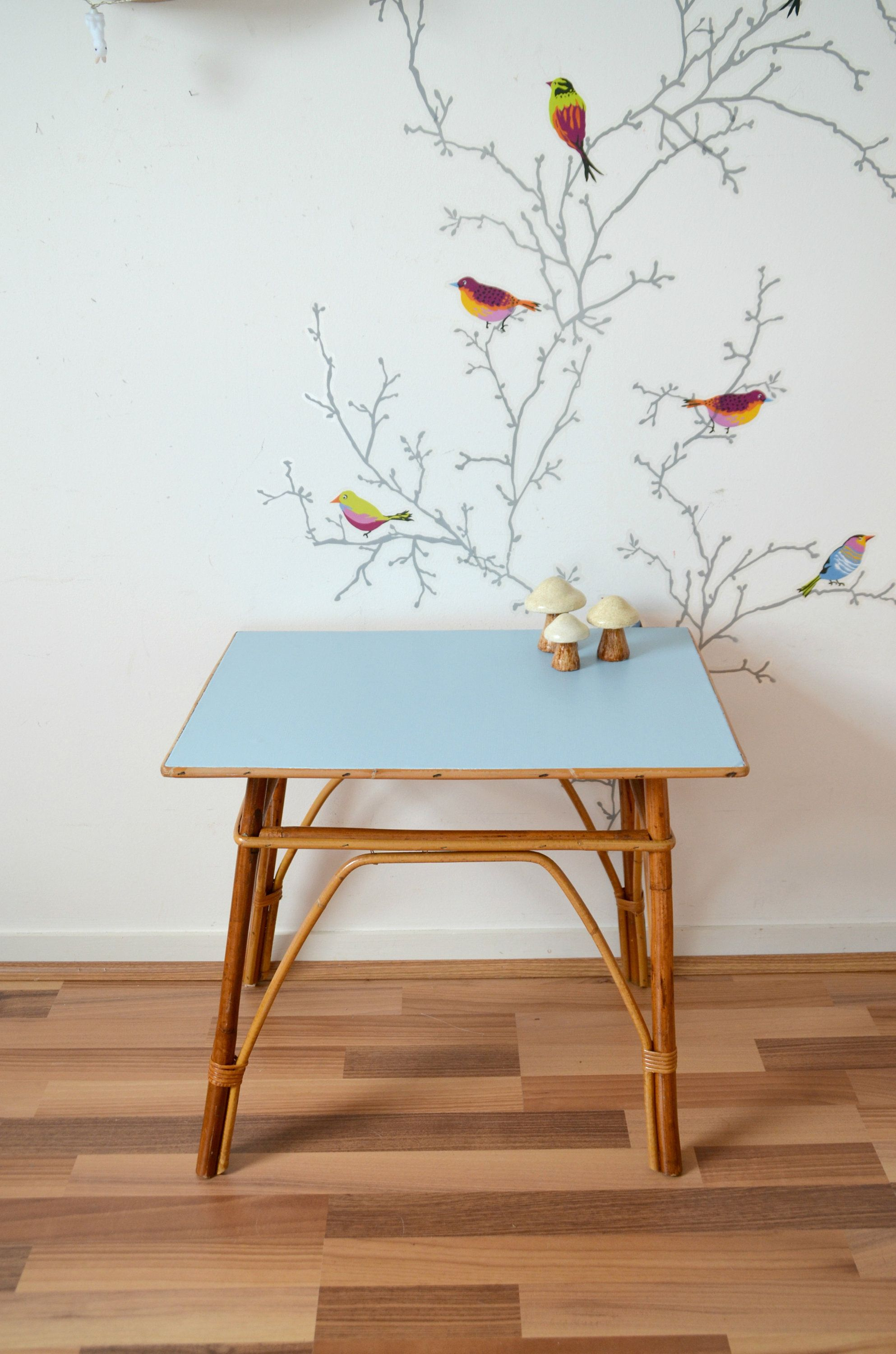 Rectangular Table In Wicker Rattan Bamboo Top Blue Oostende Side Table Nightstand Desk Deco Table D Appoint Rotin Et Table