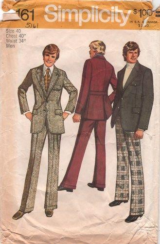 1970s Simplicity 5161 Mens Suit Pants Jacket Pattern Chest 40 | Mens ...