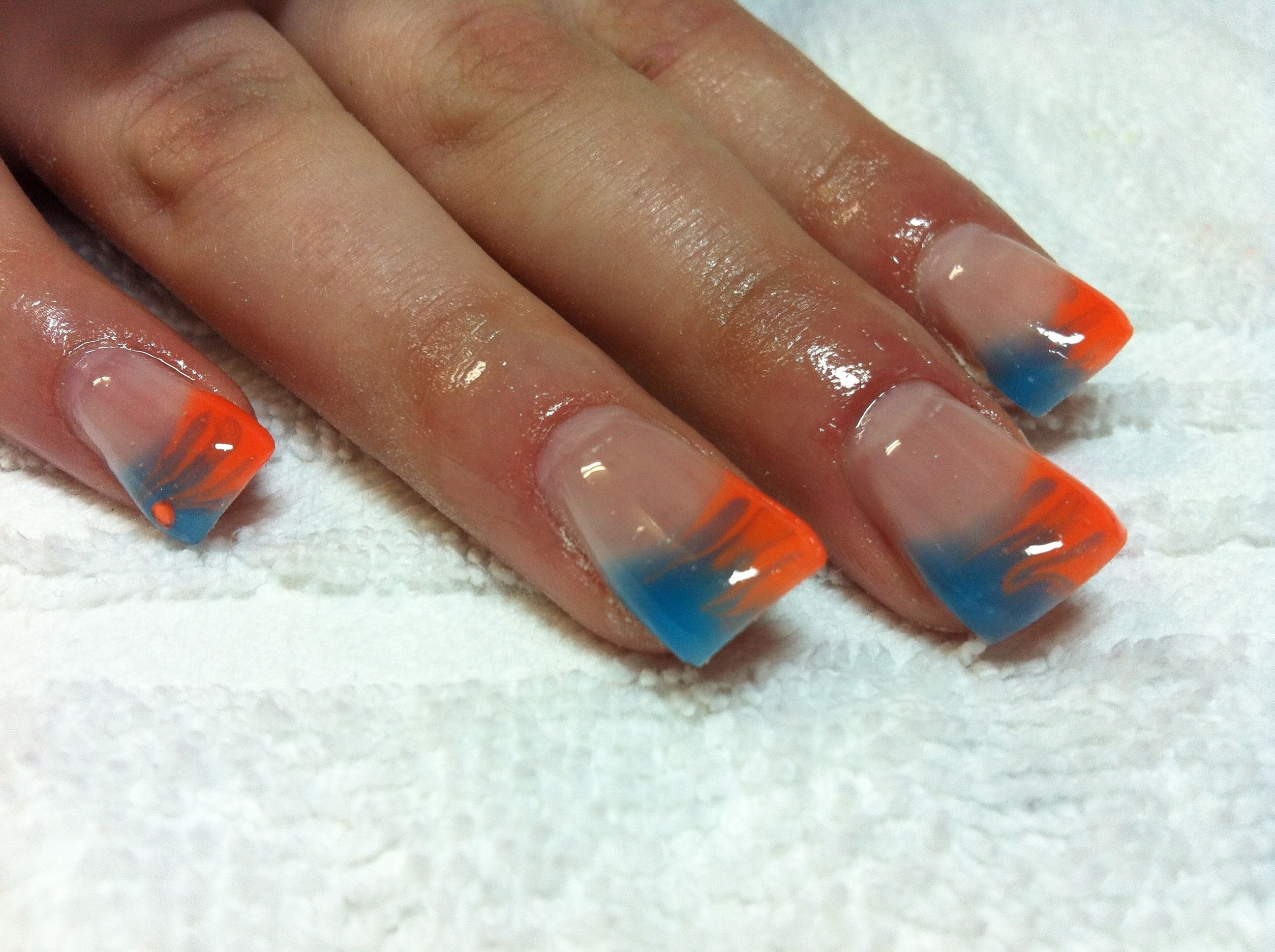 Colored french nail design - Bright Colors Gel Nails Blue Color Gel French Tip Gel Nails Nail Art Nail Design