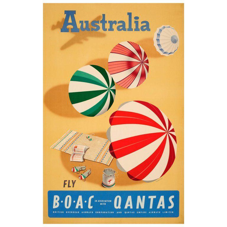 "1930 Australia /""Sunshine and Surf/"" Vintage Style Travel Poster 24x36"