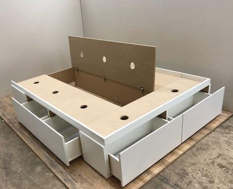 Base box sommier 6 cajones y baulera 1 40 x 1 90 en 2019 - Cama de 90 con cajones ...