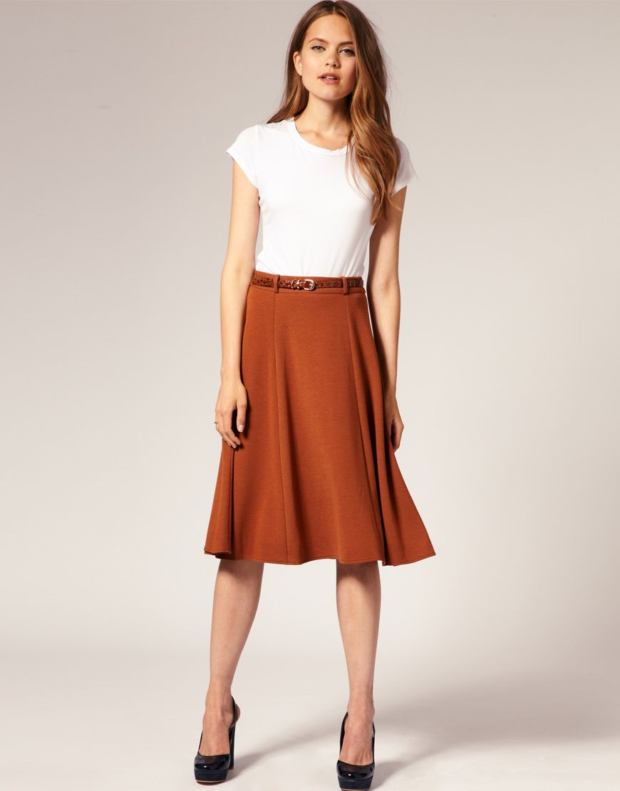 Midi skirt: GREAT fall color. An orangey amber. Material is key as ...