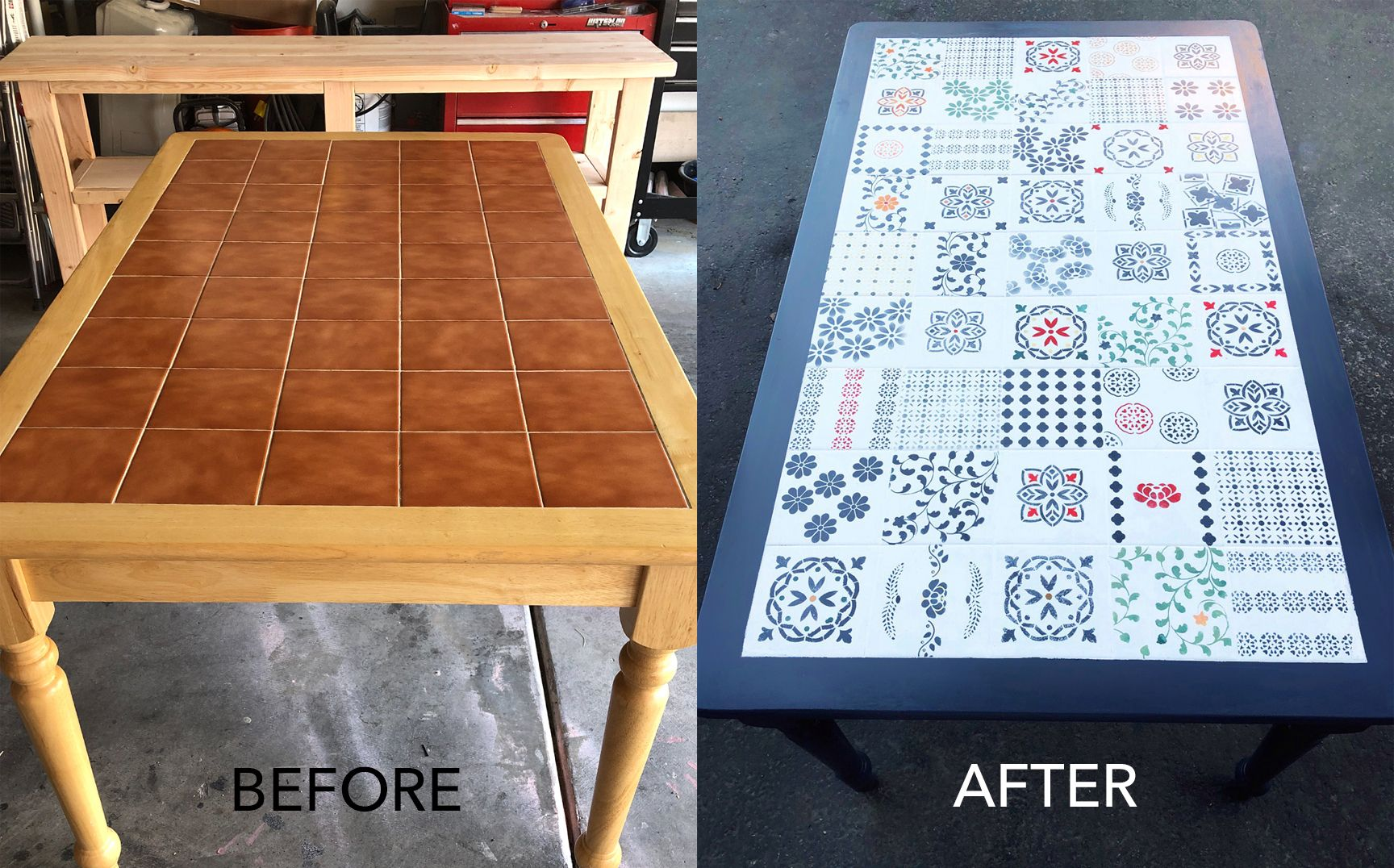 DIY Painted tile table   Tile table, Table makeover, Painted ...