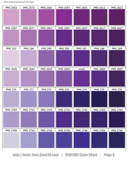 Pantone Color Chart  Pms  Screen Printing  Violet Purple