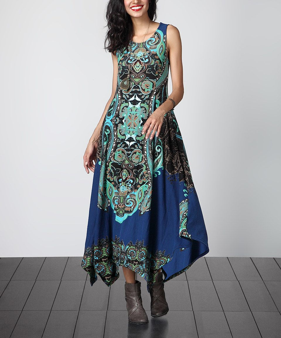 36b8ec8a3b Look what I found on  zulily! Blue Paisley Sleeveless Handkerchief Maxi  Dress by Reborn Collection  zulilyfinds