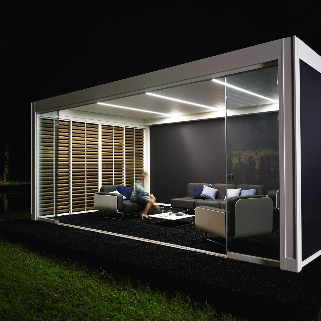 Superior Camargue   Terrace Covering Equipped With Integrated LED Lighting, Glass  Sliding Panels, Vertical Sunprotection