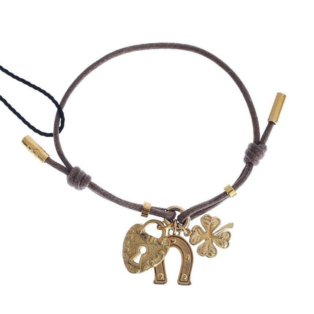 Dolce u gabbana purple cotton strap gold sicily charms bracelet