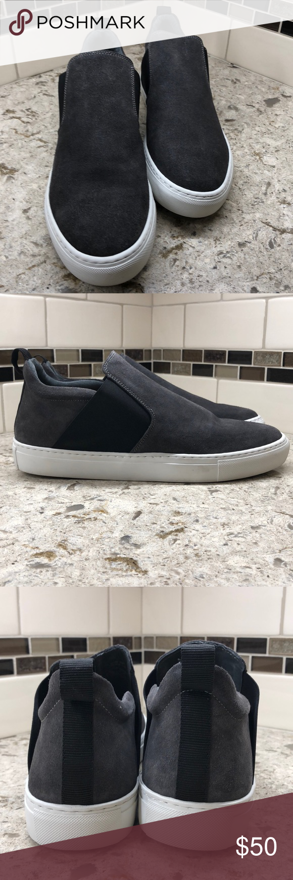 09766b4b640ea Supply Lab Landon slip on sneakers New in box grey suede and black wide  elastic slip On sneakers with white sole Supply Lab Shoes Loafers & Slip-Ons