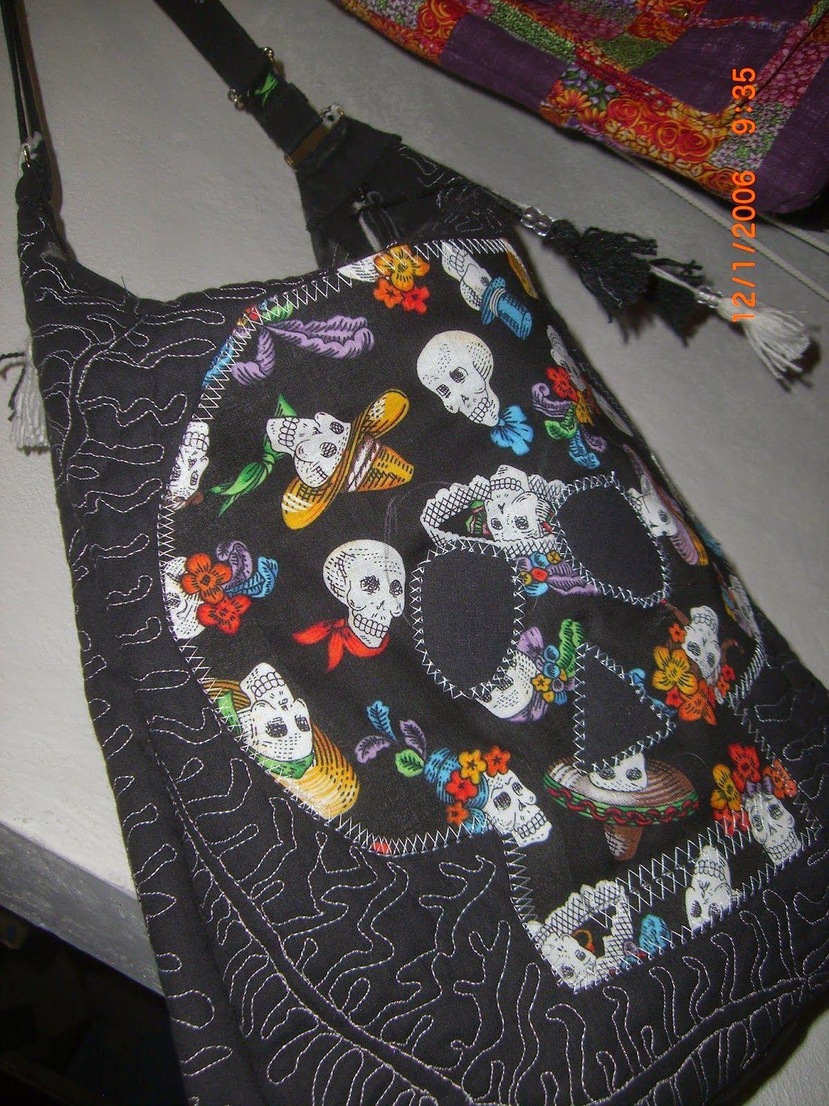 calavera tela de negra aplicación bolsa con bolsas de tela de con Y58x14q