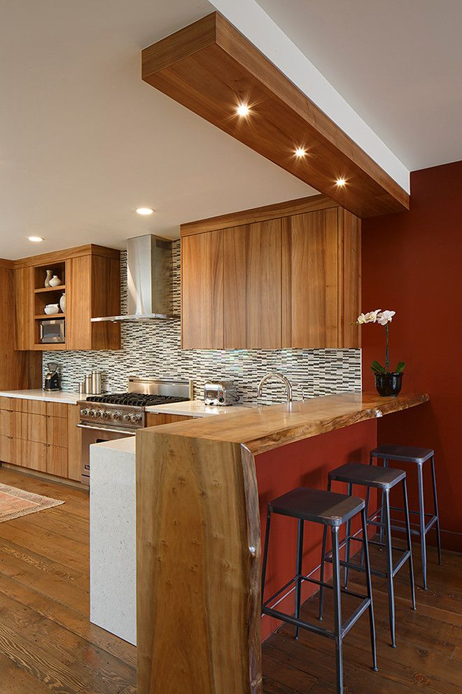 Incroyable Live Edge Counter Bar Kitchen Contemporary With Wood Countertops Waterfall  Counters Wood Cabinets