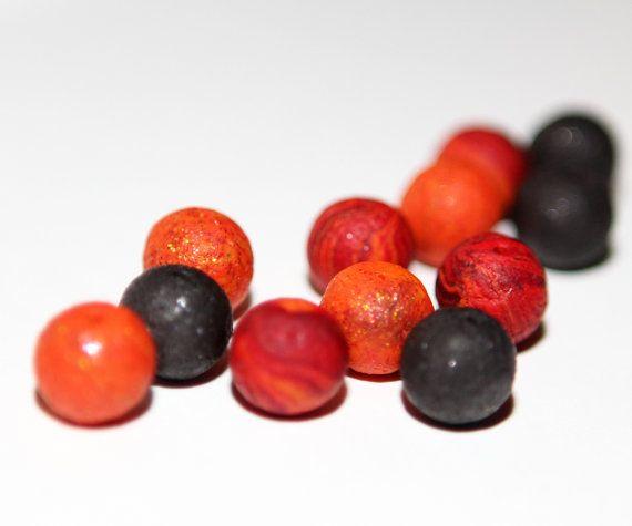 Volcanic Beads  Round 10mm Textured Bead Mix  4 Lava 4 by kidalia, $10.00