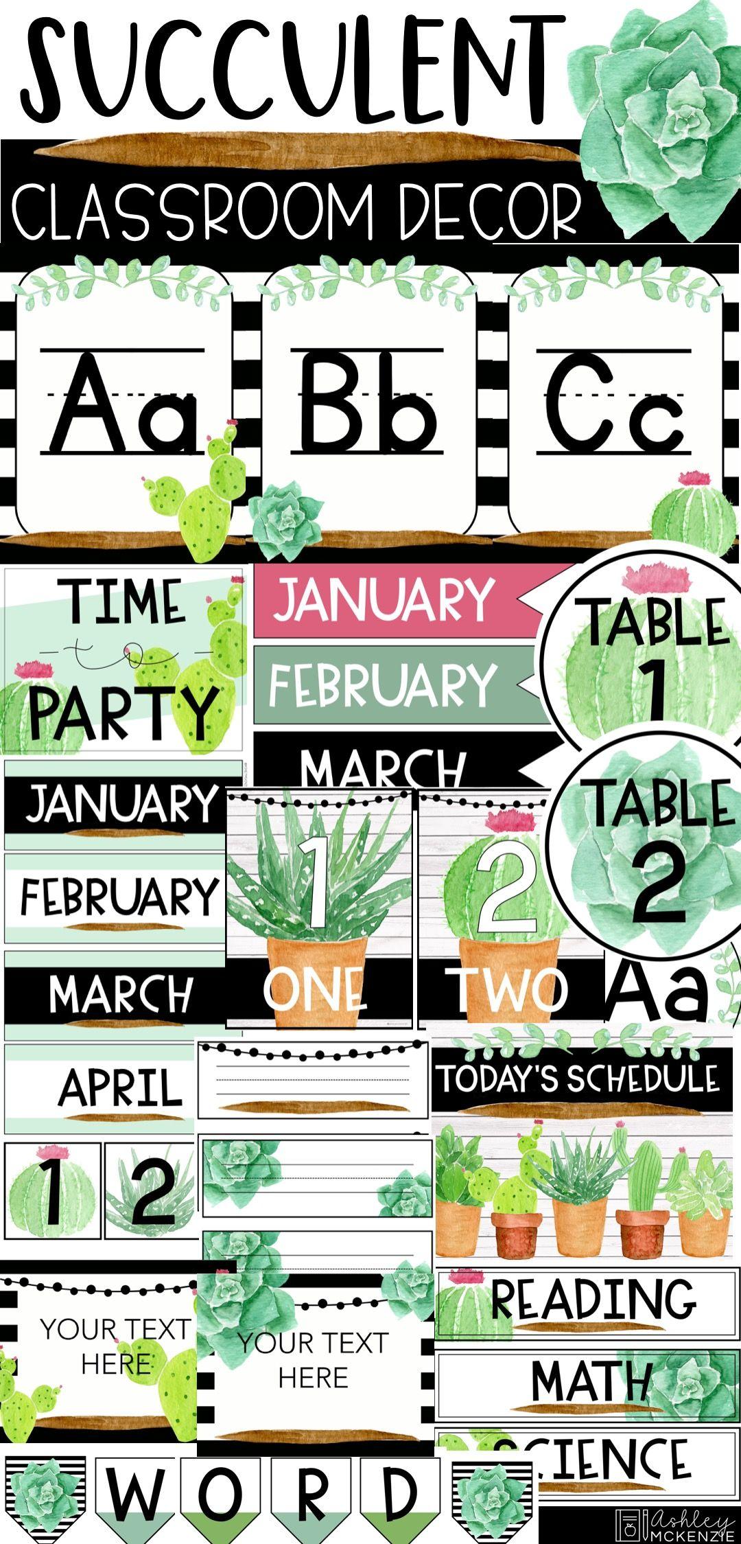 Watercolor Succulent Cactus Classroom Decor Classroom Themes