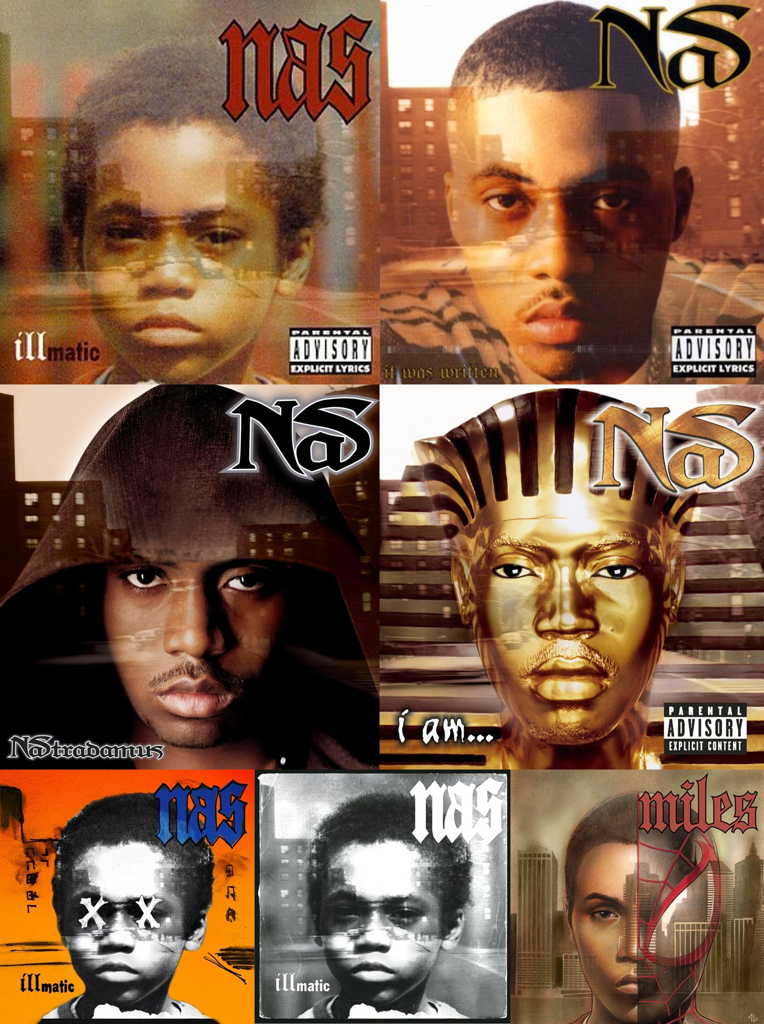 Nas album covers 1994 - 1999 [Illmatic, It Was Written