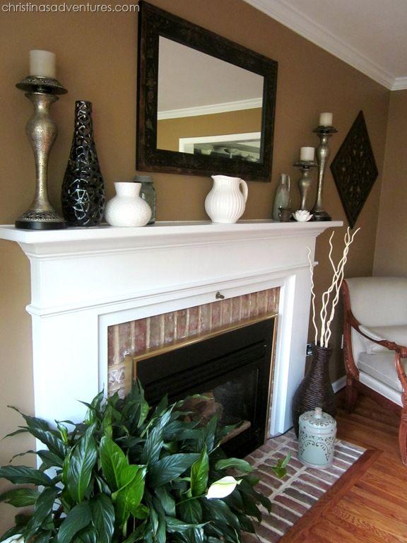 Living room make over tan white blue interiors - White fireplace living room ideas ...